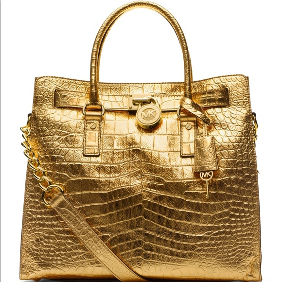 6669121980e6 Michael Kors Hamilton Crocodile-Embossed Tote Gold.  M_5bb5eda46a0bb7580d66af66